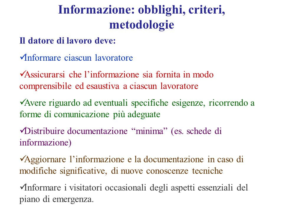 Informazione: obblighi, criteri, metodologie
