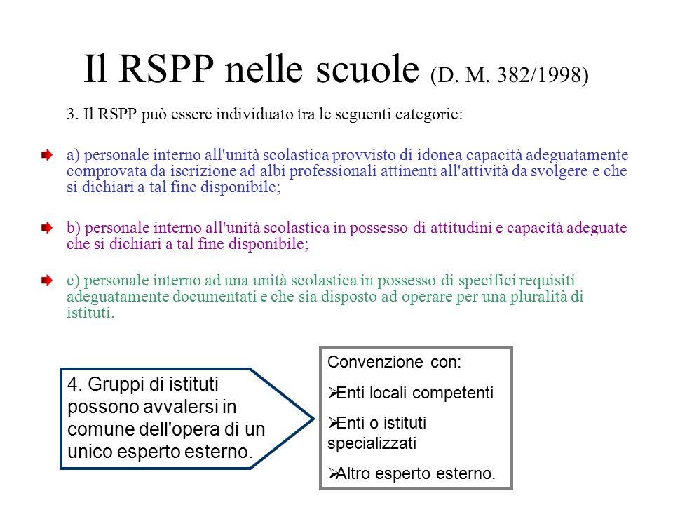 Il RSPP nelle scuole (D. M. 382/1998)