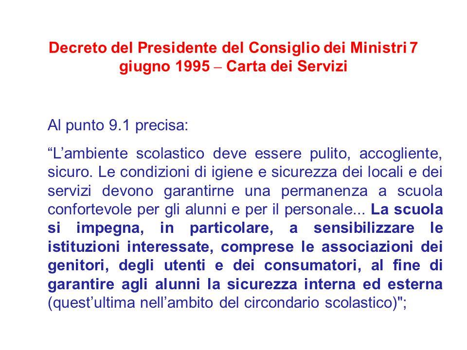 Decreto del Presidente del Consiglio dei Ministri 7 giugno 1995 – Carta dei Servizi