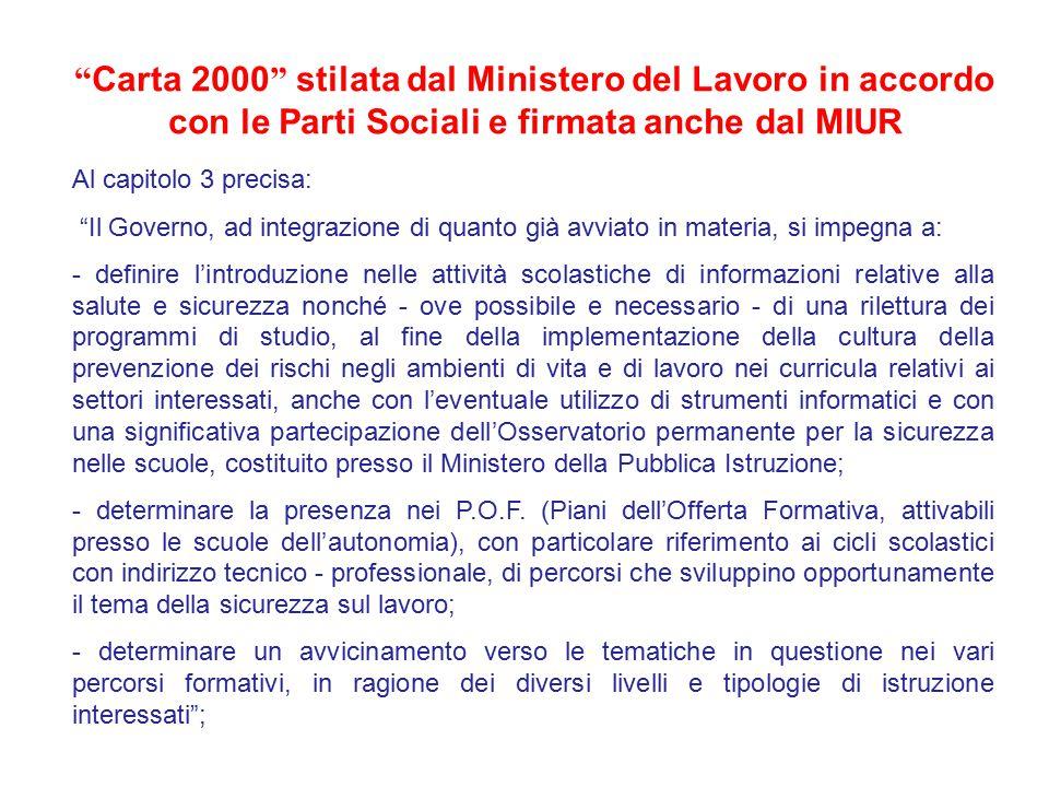 Carta 2000 stilata dal Ministero del Lavoro in accordo con le Parti Sociali e firmata anche dal MIUR