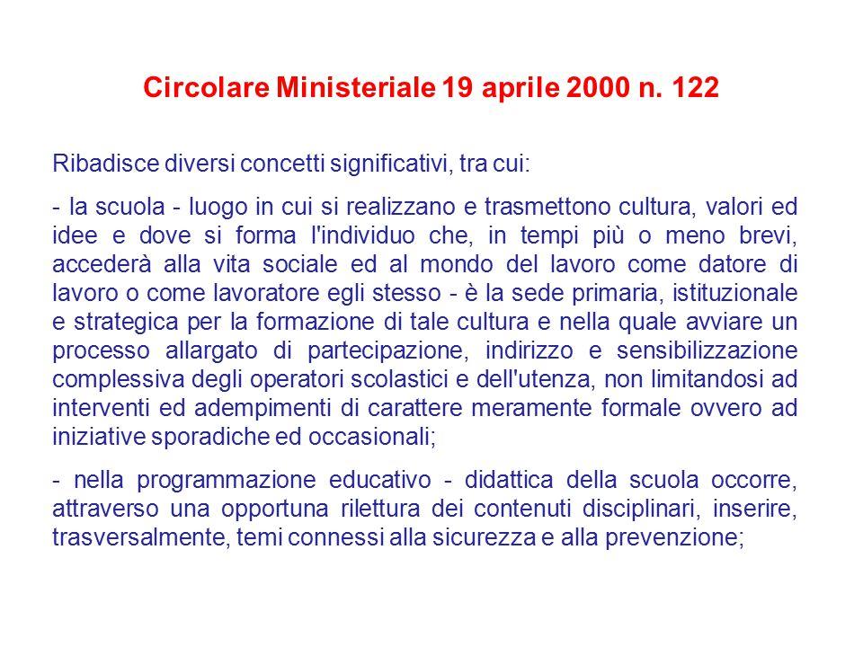 Circolare Ministeriale 19 aprile 2000 n. 122