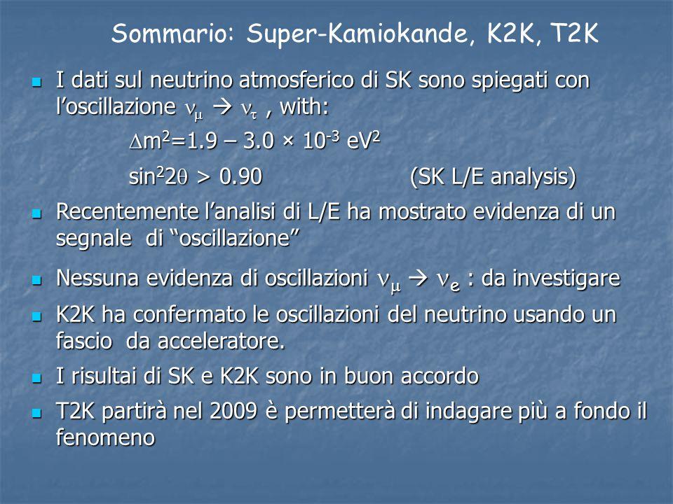 Sommario: Super-Kamiokande, K2K, T2K