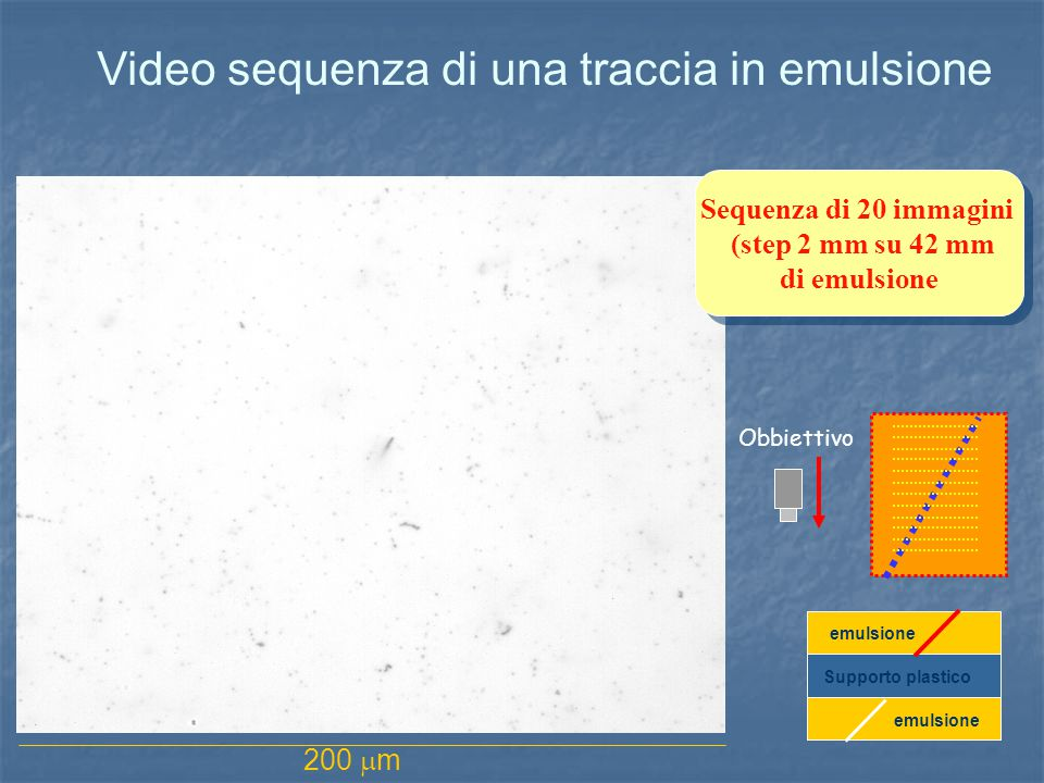 Video sequenza di una traccia in emulsione