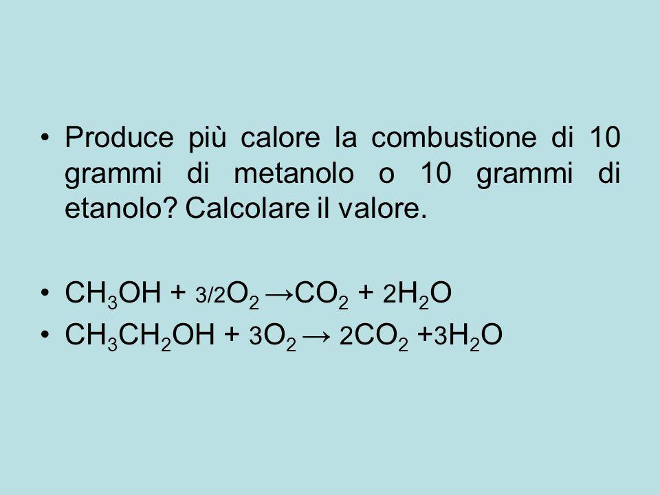 Produce più calore la combustione di 10 grammi di metanolo o 10 grammi di etanolo Calcolare il valore.