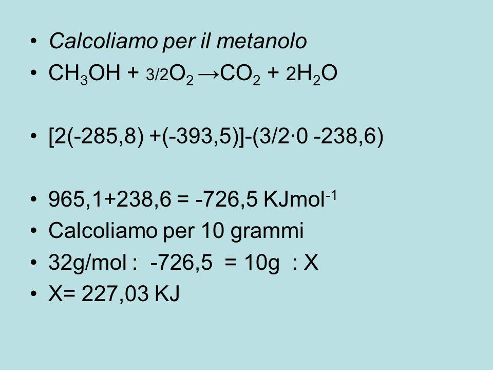 Calcoliamo per il metanolo
