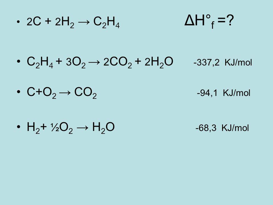 C2H4 + 3O2 → 2CO2 + 2H2O -337,2 KJ/mol C+O2 → CO2 -94,1 KJ/mol