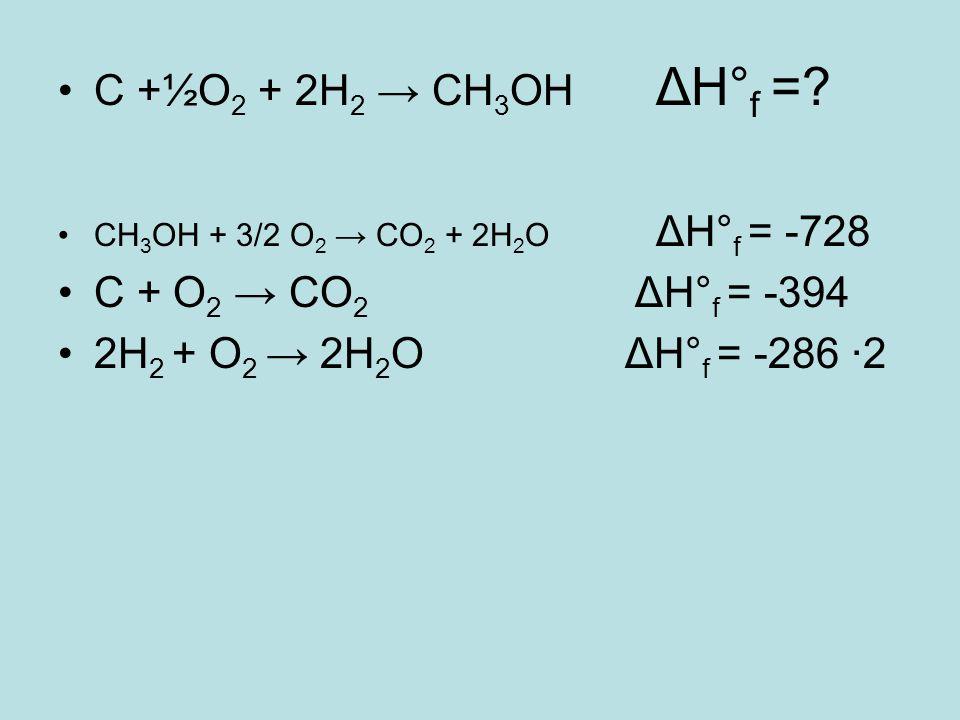 C +½O2 + 2H2 → CH3OH ΔH°f = C + O2 → CO2 ΔH°f = -394