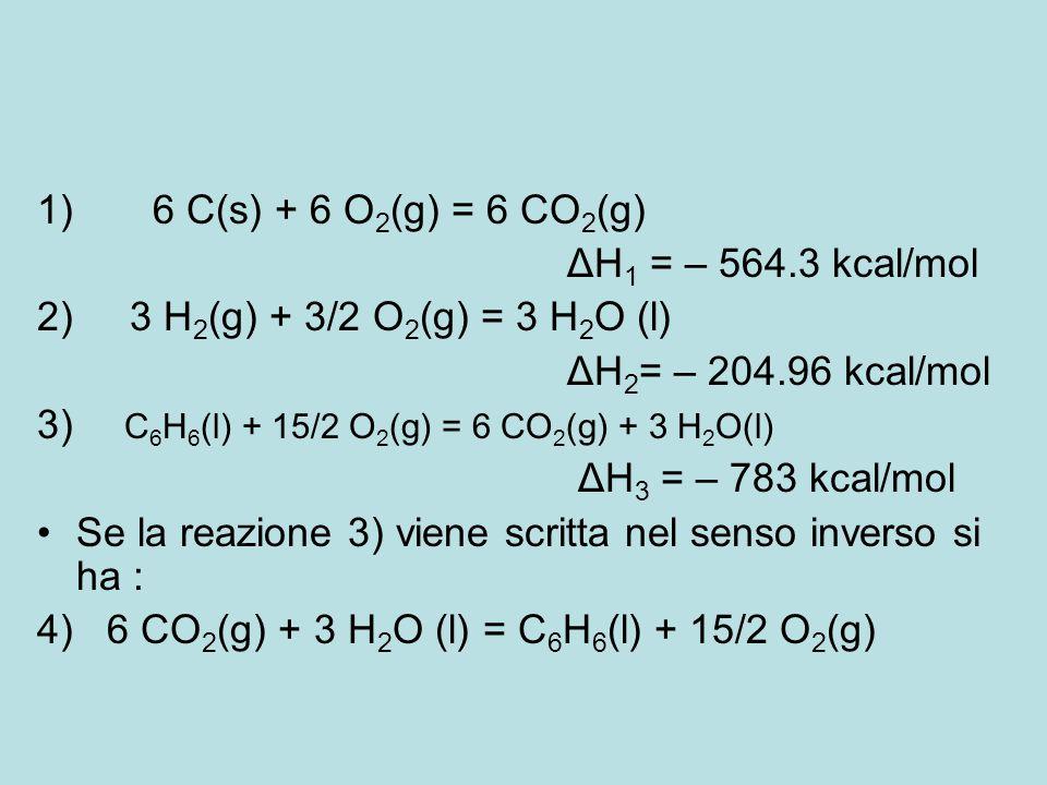 1) 6 C(s) + 6 O2(g) = 6 CO2(g) ΔH1 = – 564.3 kcal/mol. 2) 3 H2(g) + 3/2 O2(g) = 3 H2O (l)