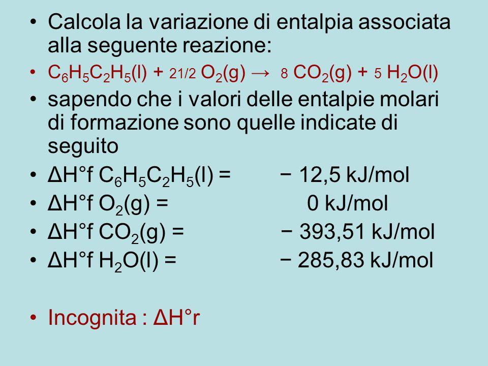 Calcola la variazione di entalpia associata alla seguente reazione: