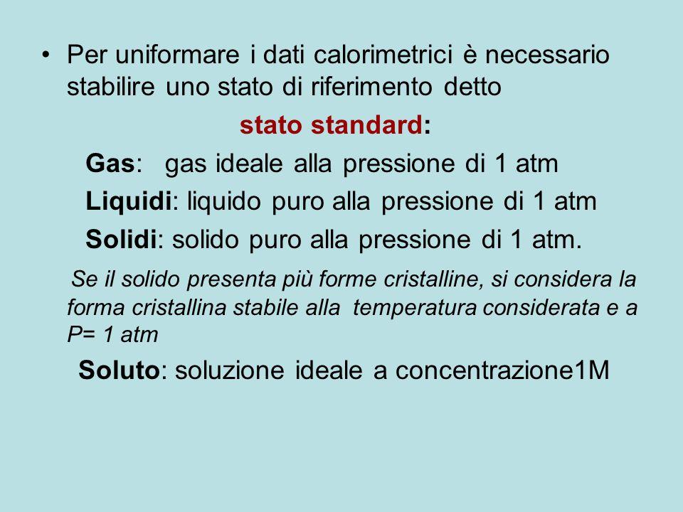 Per uniformare i dati calorimetrici è necessario stabilire uno stato di riferimento detto