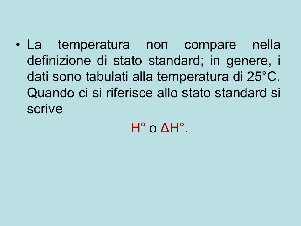 La temperatura non compare nella definizione di stato standard; in genere, i dati sono tabulati alla temperatura di 25°C. Quando ci si riferisce allo stato standard si scrive