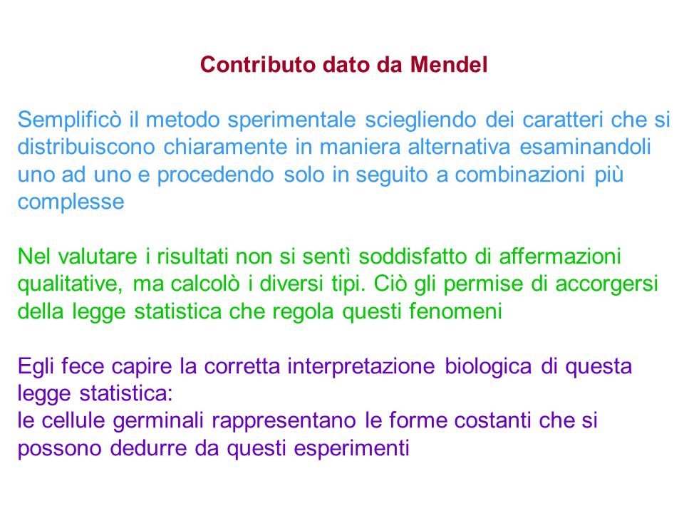 Contributo dato da Mendel