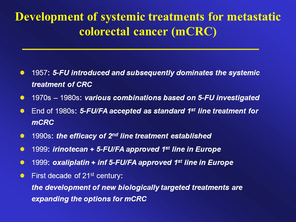 Development of systemic treatments for metastatic colorectal cancer (mCRC)