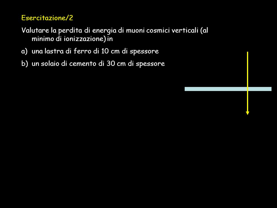 Esercitazione/2 Valutare la perdita di energia di muoni cosmici verticali (al minimo di ionizzazione) in.