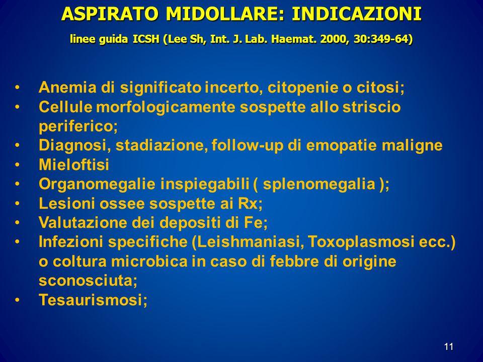 ASPIRATO MIDOLLARE: INDICAZIONI linee guida ICSH (Lee Sh, Int. J. Lab