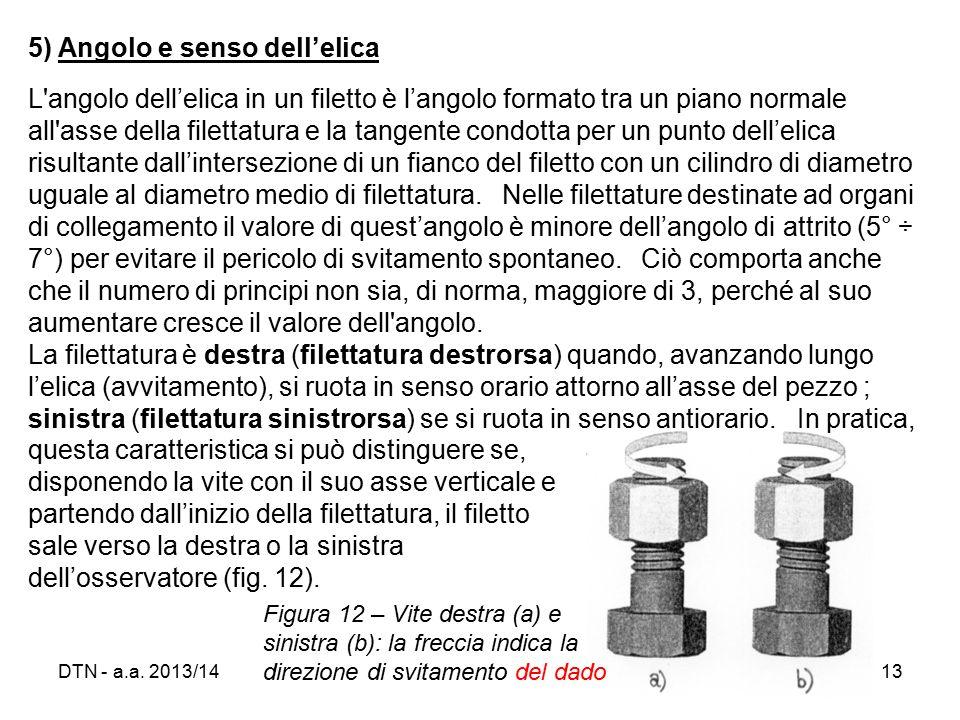 5) Angolo e senso dell'elica