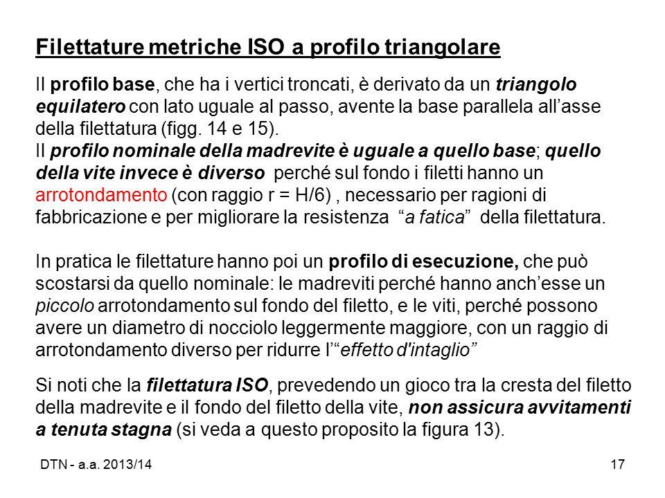 Filettature metriche ISO a profilo triangolare