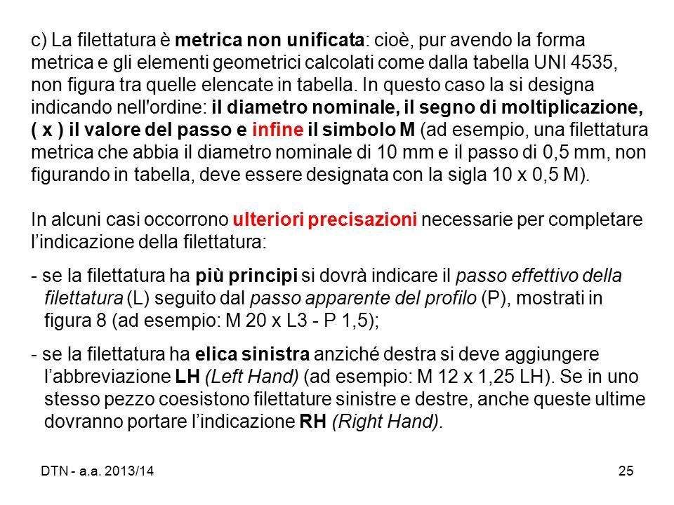 c) La filettatura è metrica non unificata: cioè, pur avendo la forma