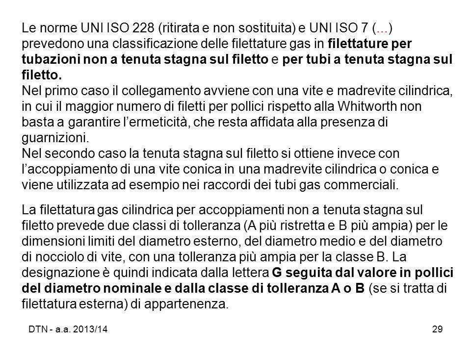 Le norme UNI ISO 228 (ritirata e non sostituita) e UNI ISO 7 (