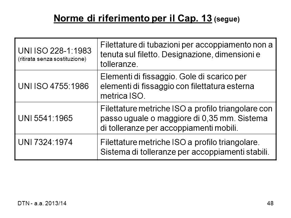 Norme di riferimento per il Cap. 13 (segue)