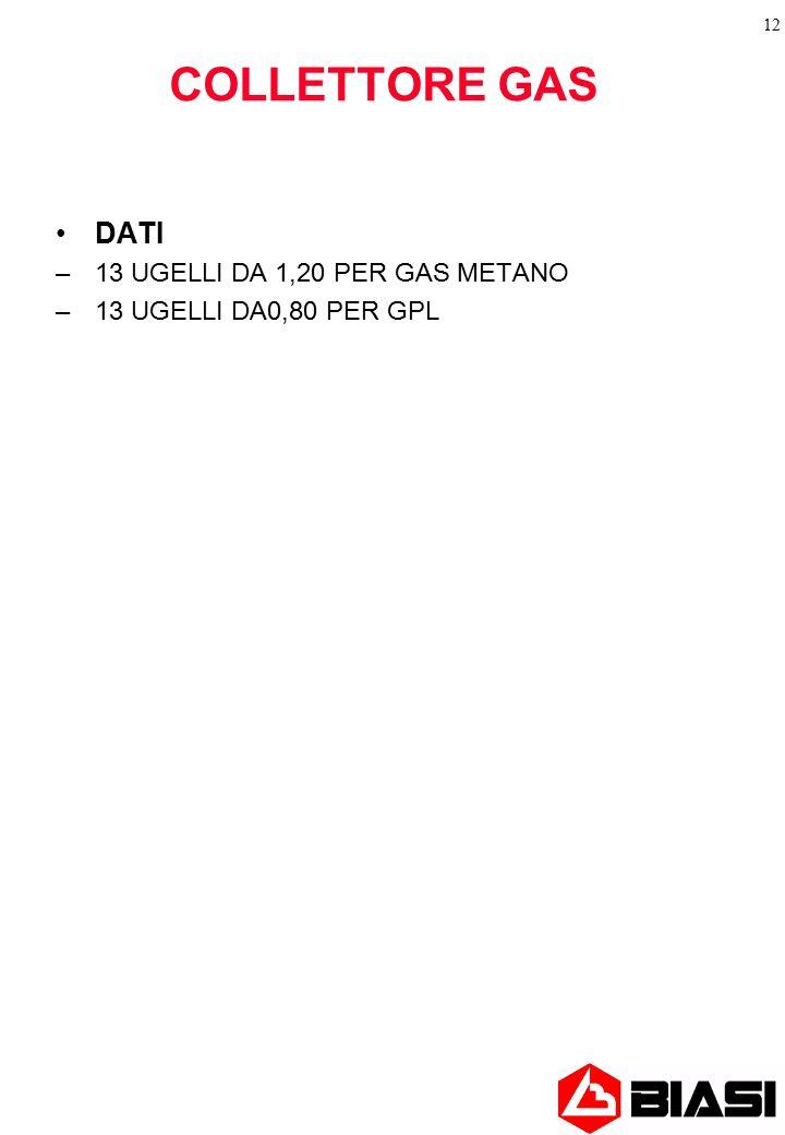 COLLETTORE GAS DATI 13 UGELLI DA 1,20 PER GAS METANO