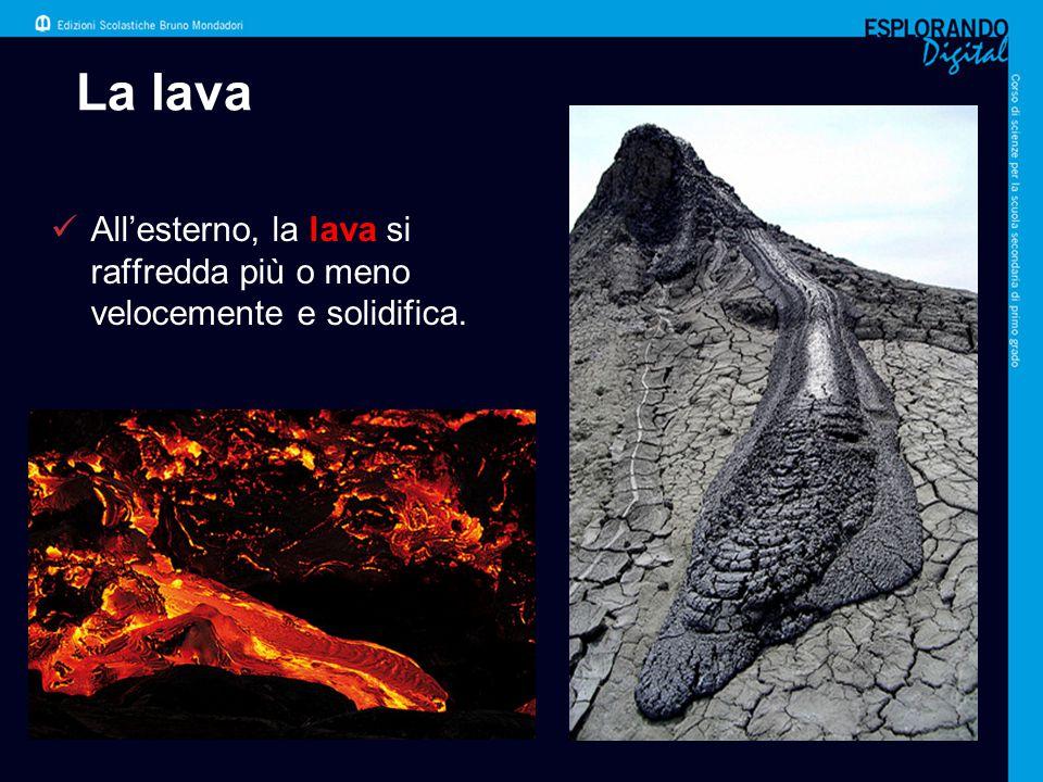 La lava All'esterno, la lava si raffredda più o meno velocemente e solidifica. Per l'insegnante: