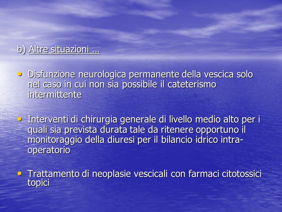 b) Altre situazioni … Disfunzione neurologica permanente della vescica solo nel caso in cui non sia possibile il cateterismo intermittente.