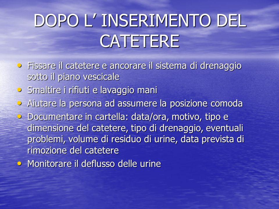 DOPO L' INSERIMENTO DEL CATETERE