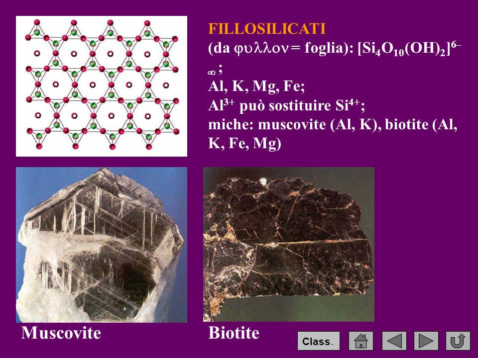 Muscovite Biotite FILLOSILICATI