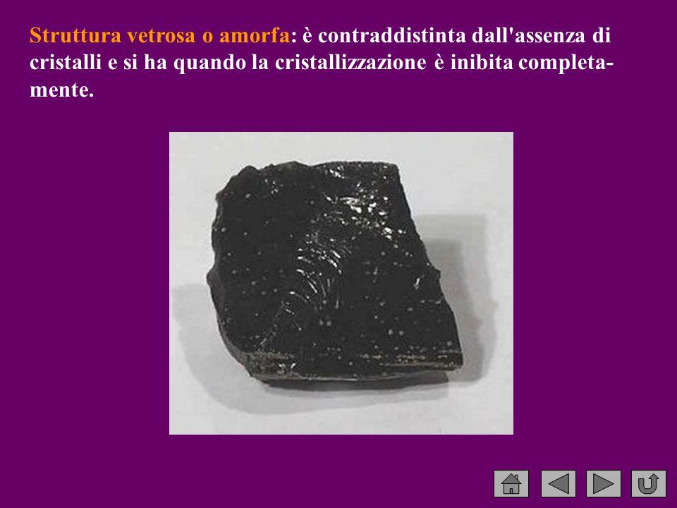 Struttura vetrosa o amorfa: è contraddistinta dall assenza di cristalli e si ha quando la cristallizzazione è inibita completa-mente.