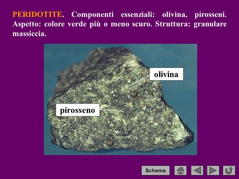 PERIDOTITE. Componenti essenziali: olivina, pirosseni