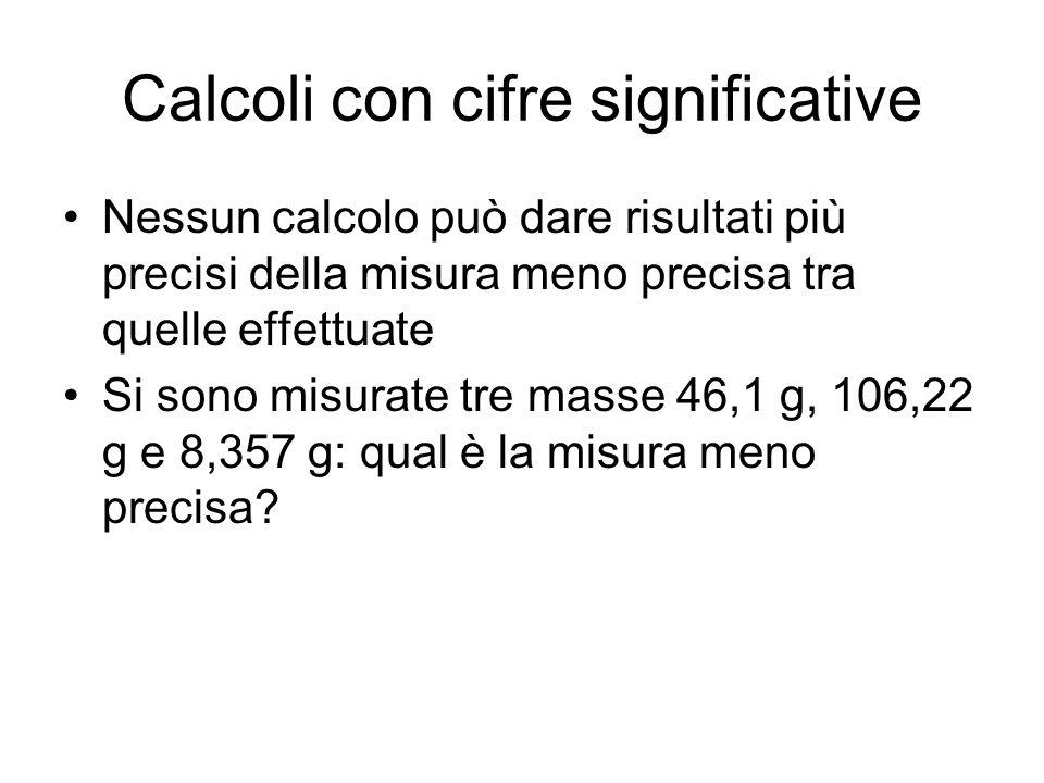 Calcoli con cifre significative