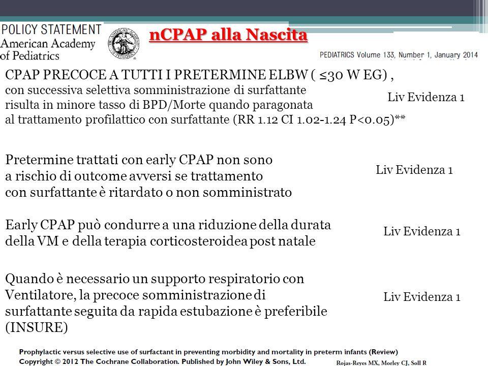 nCPAP alla Nascita CPAP PRECOCE A TUTTI I PRETERMINE ELBW ( ≤30 W EG) , con successiva selettiva somministrazione di surfattante.