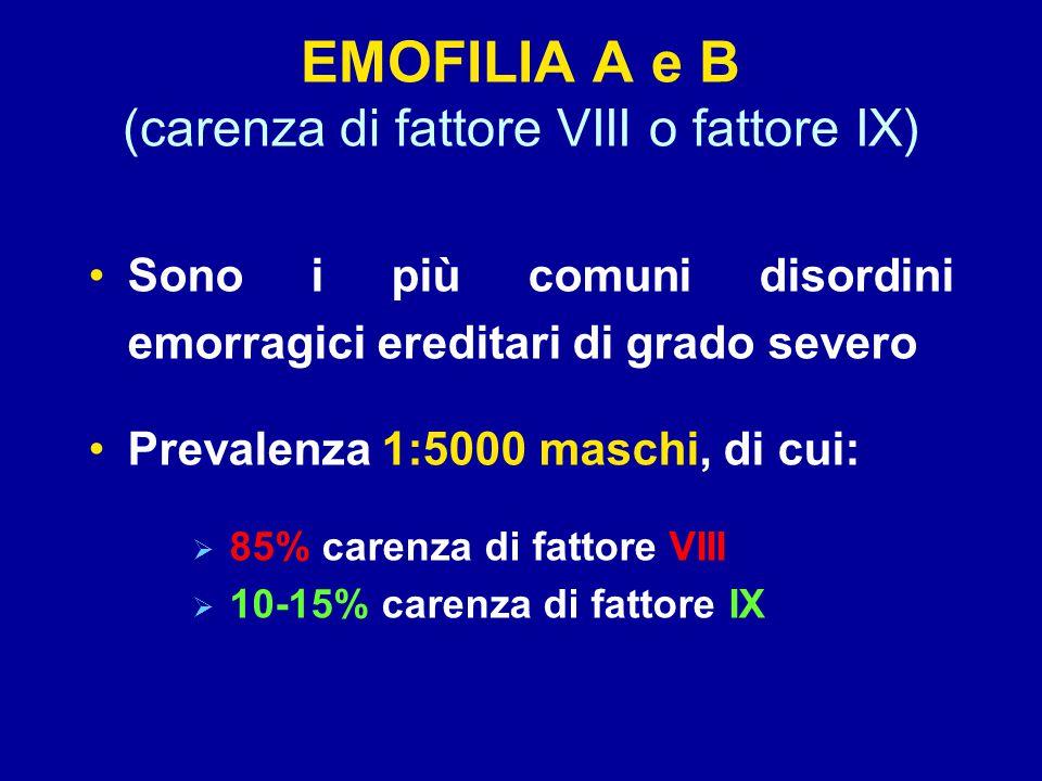 EMOFILIA A e B (carenza di fattore VIII o fattore IX)