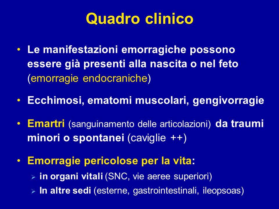 Quadro clinico Le manifestazioni emorragiche possono essere già presenti alla nascita o nel feto (emorragie endocraniche)