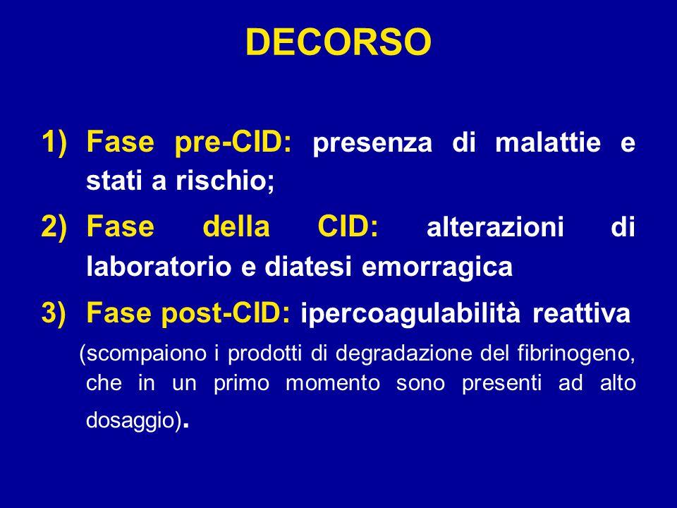 DECORSO Fase pre-CID: presenza di malattie e stati a rischio;