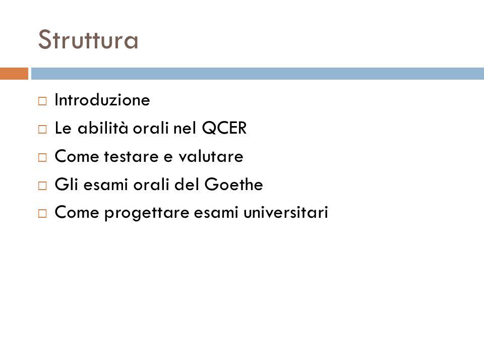 Struttura Introduzione Le abilità orali nel QCER