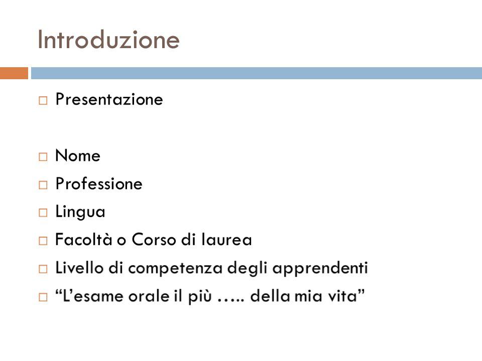 Introduzione Presentazione Nome Professione Lingua