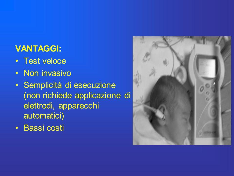 VANTAGGI: Test veloce. Non invasivo. Semplicità di esecuzione (non richiede applicazione di elettrodi, apparecchi automatici)