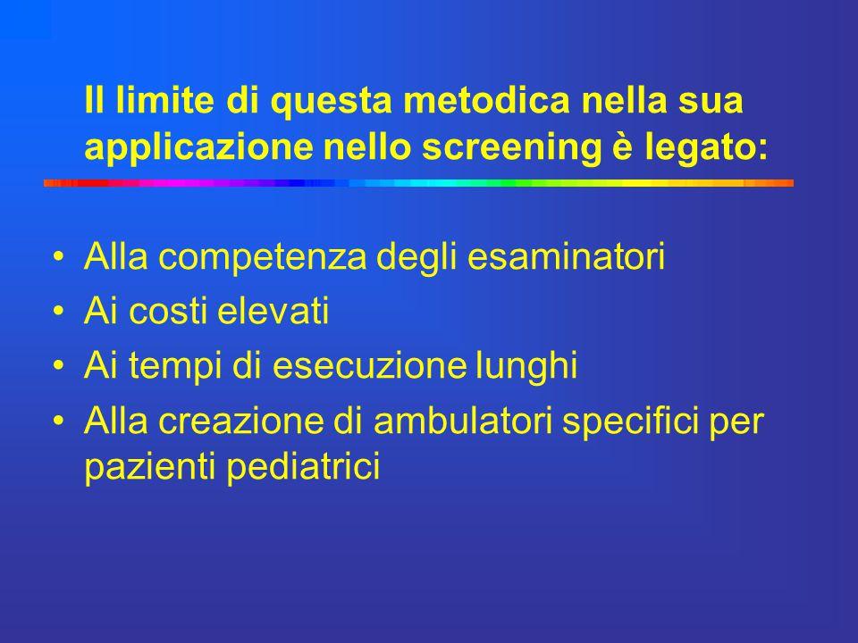 Il limite di questa metodica nella sua applicazione nello screening è legato: