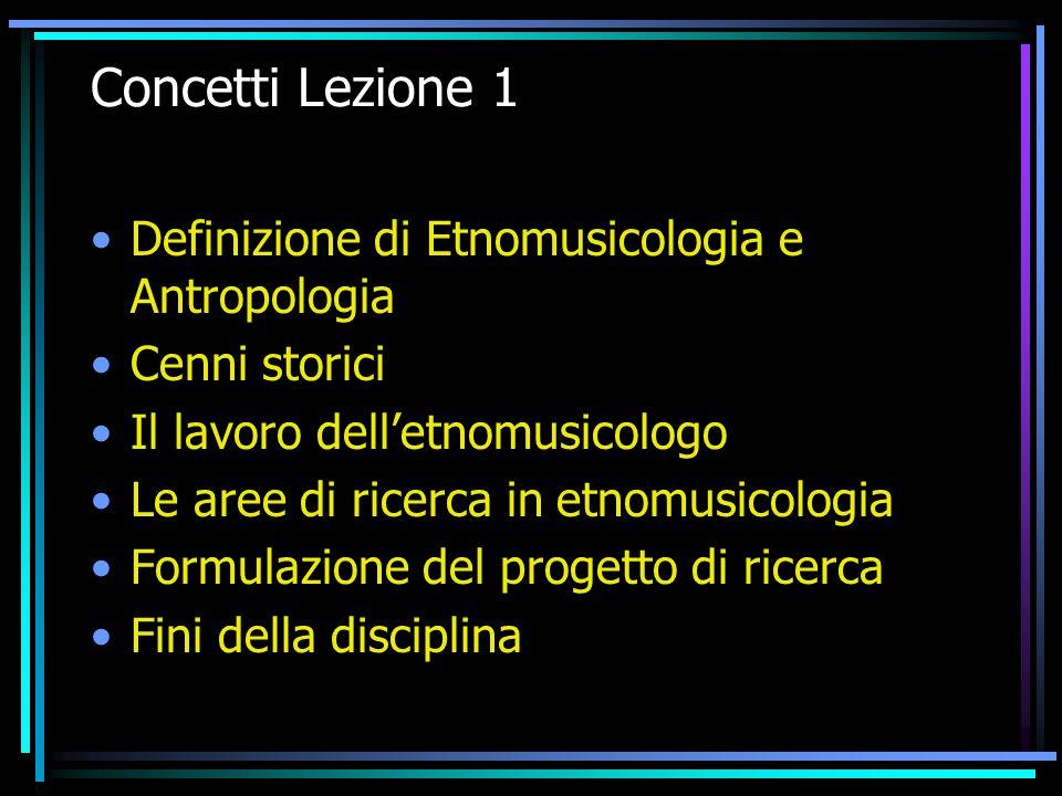 Concetti Lezione 1 Definizione di Etnomusicologia e Antropologia
