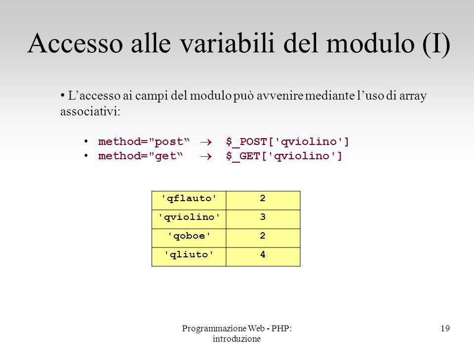 Accesso alle variabili del modulo (I)