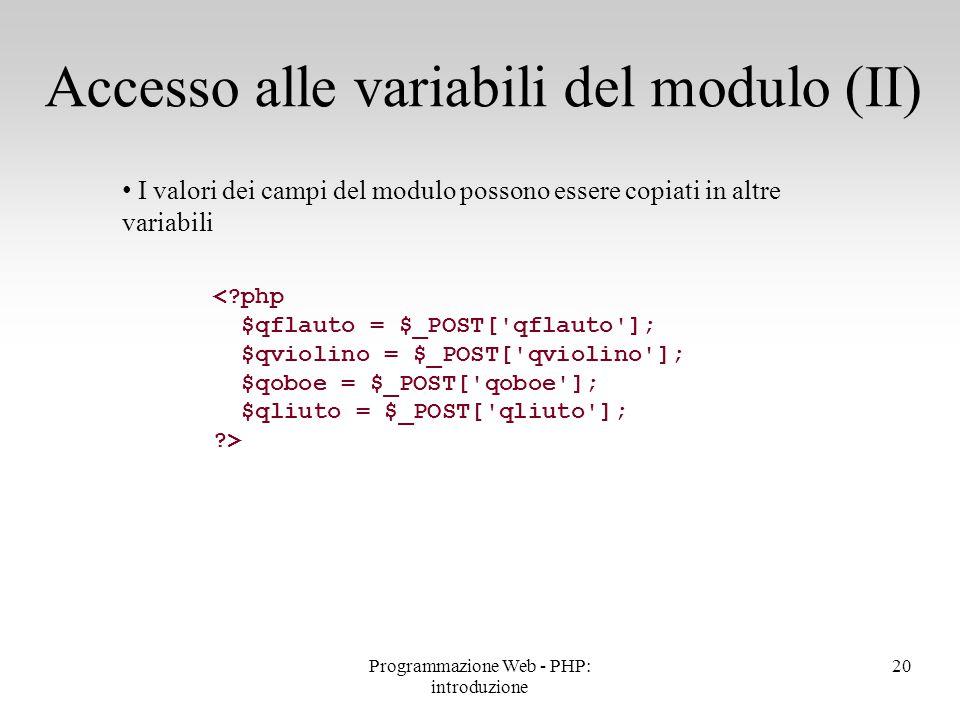 Accesso alle variabili del modulo (II)