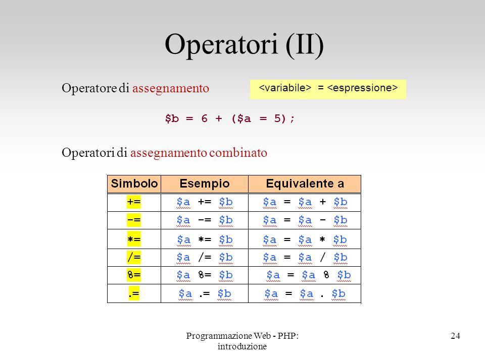 Operatori (II) Operatore di assegnamento
