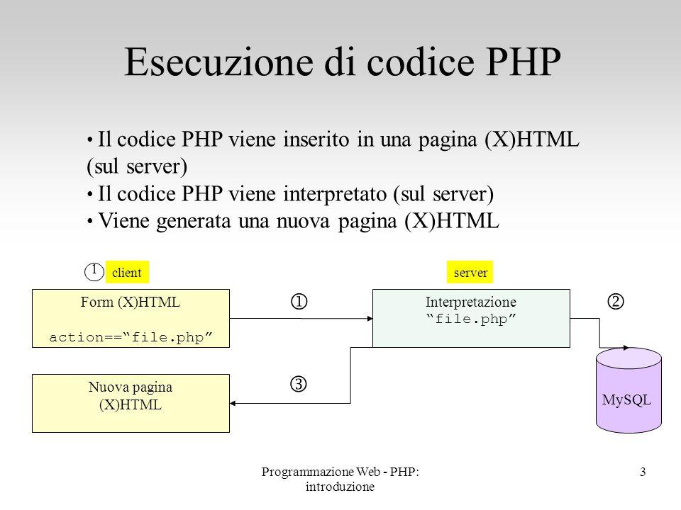 Esecuzione di codice PHP