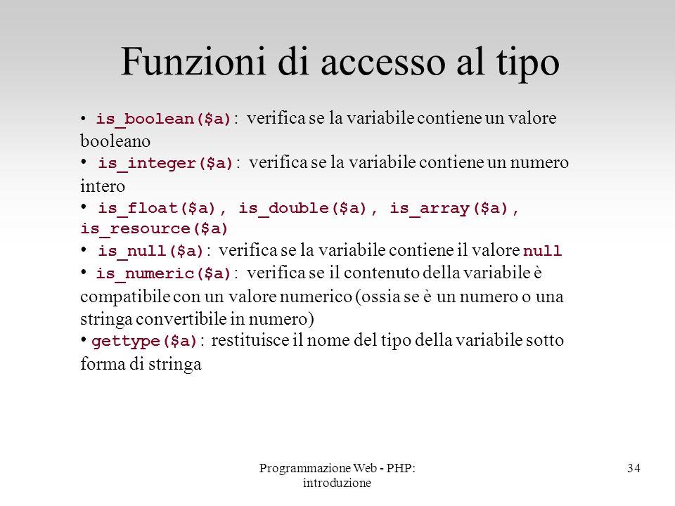 Funzioni di accesso al tipo