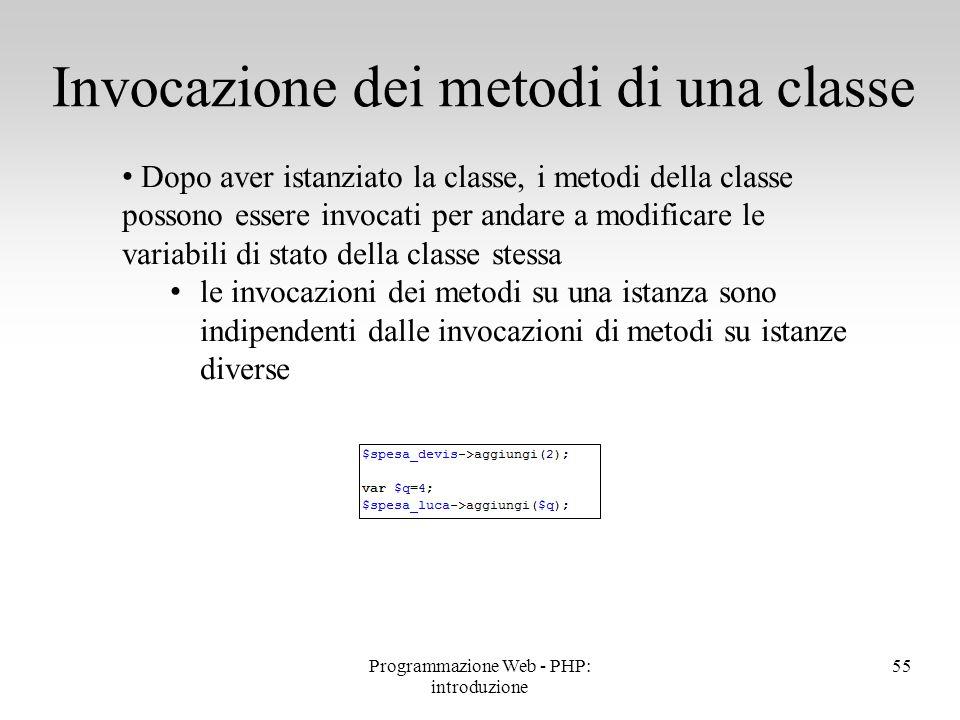 Invocazione dei metodi di una classe
