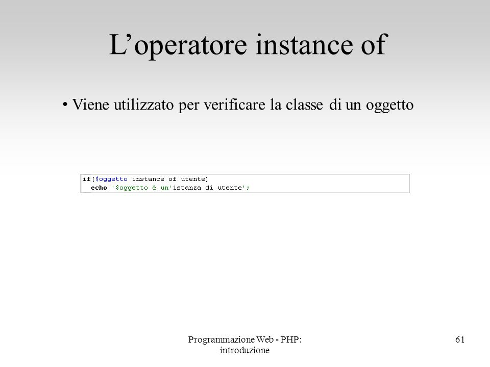 L'operatore instance of