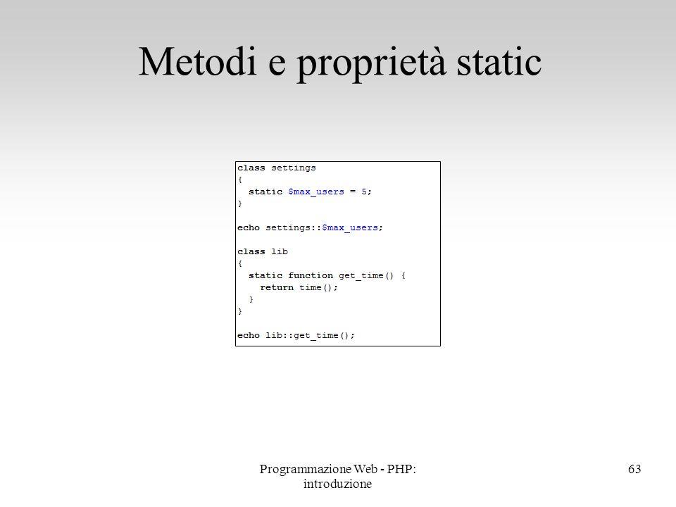 Metodi e proprietà static
