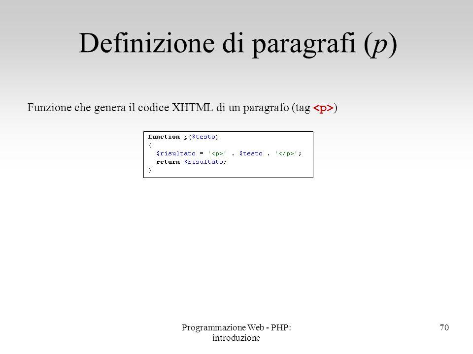 Definizione di paragrafi (p)